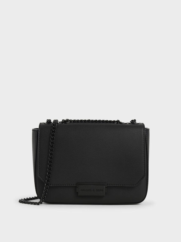 Double Chain Link Crossbody Bag, Ultra-Matte Black, hi-res