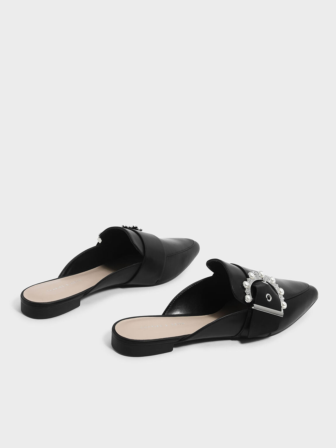 Pearl Detail Buckle Slip Ons, Black, hi-res