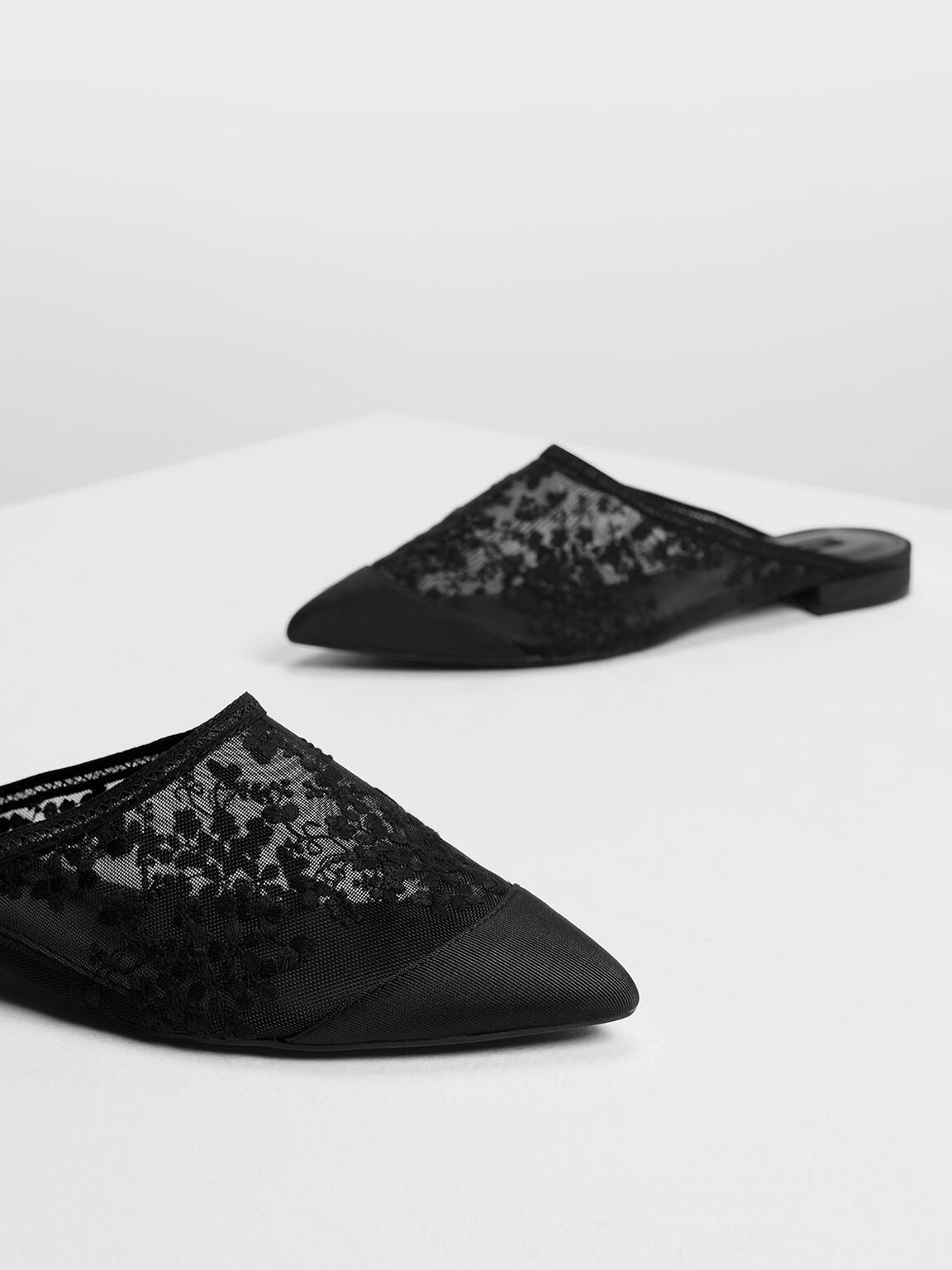 Floral Embroidery Mesh Mules, Black, hi-res