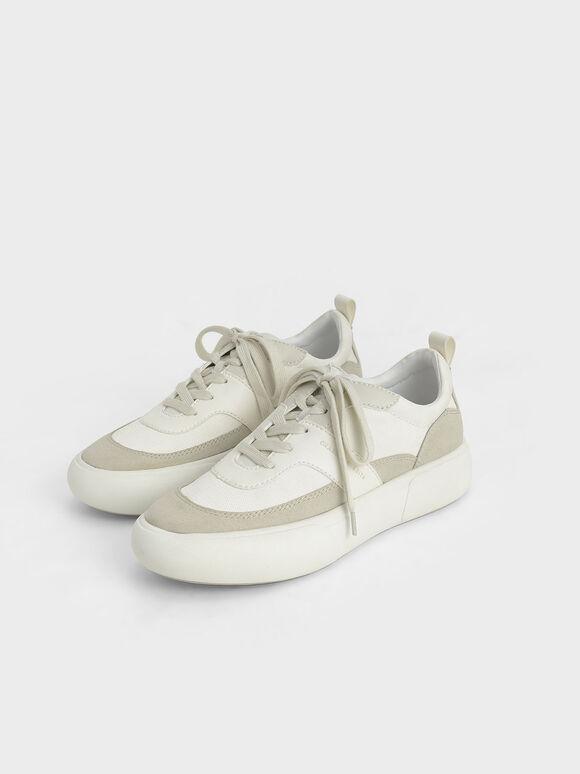 Textured Low Top Sneakers, Chalk, hi-res