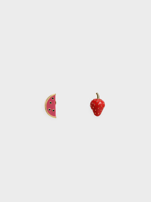 Fruits Stud Earrings, Red, hi-res