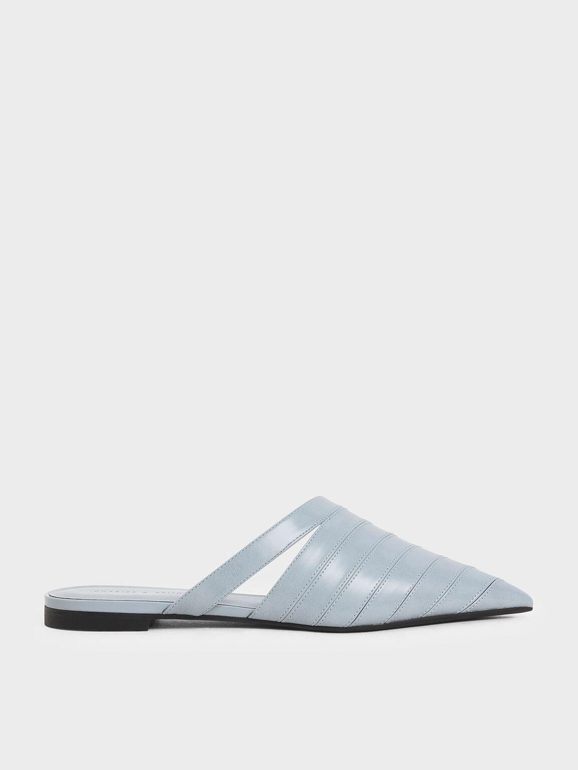Asymmetric Pointed Toe Mules, Light Blue, hi-res