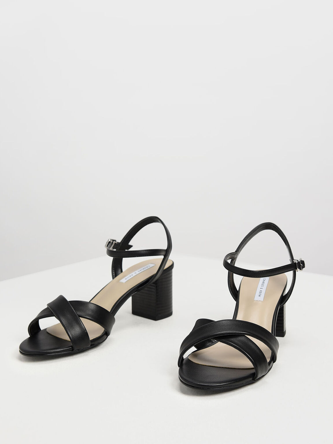 Criss-Cross Block Heel Sandals, Black, hi-res