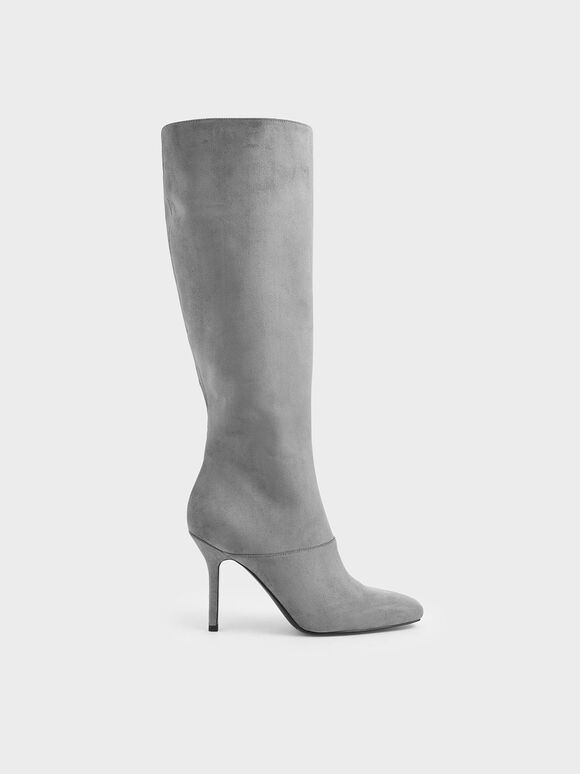 Textured Knee High Boots, Grey, hi-res