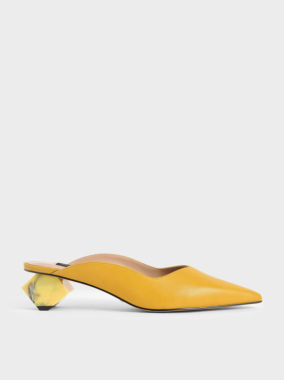 Leather Sculptural Heel Mules, Yellow, hi-res