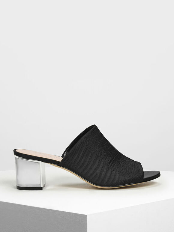 Embossed Fabric Heeled Slide Sandals, Black, hi-res