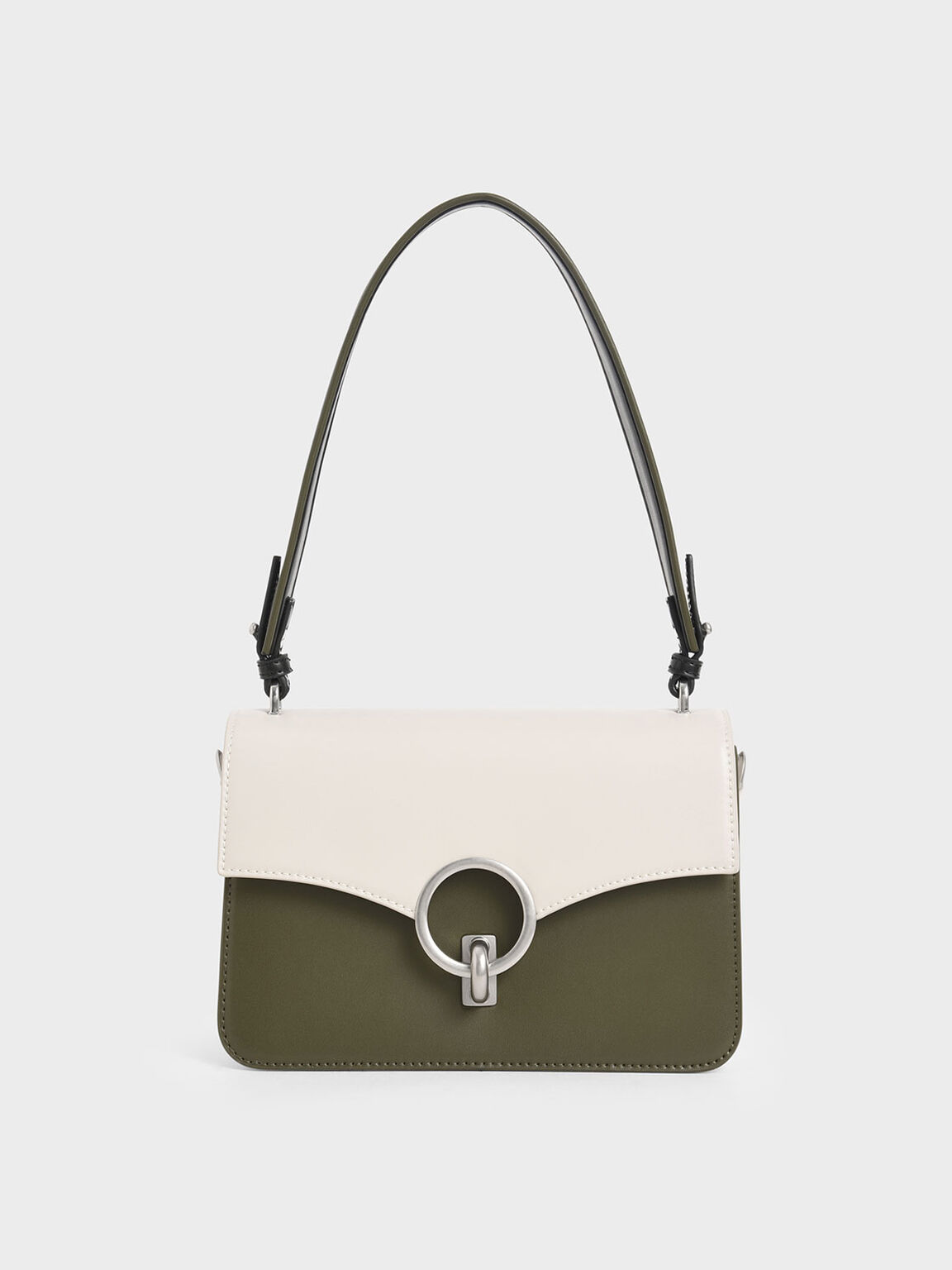 Two-Tone Turn-Lock Shoulder Bag, Olive, hi-res