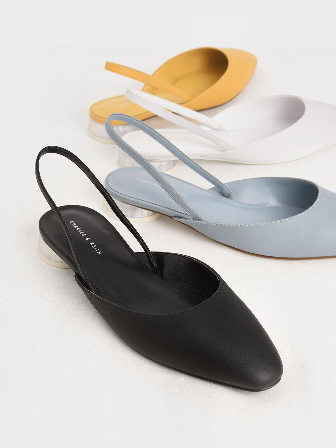 Cylindrical Heel Slingback Pumps, Black, hi-res
