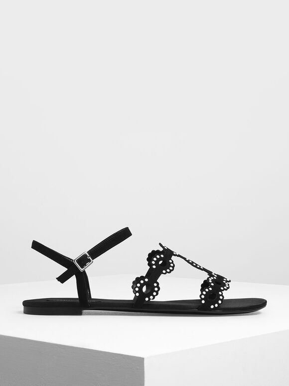 Cut-Out Embellished Sandals, Black, hi-res
