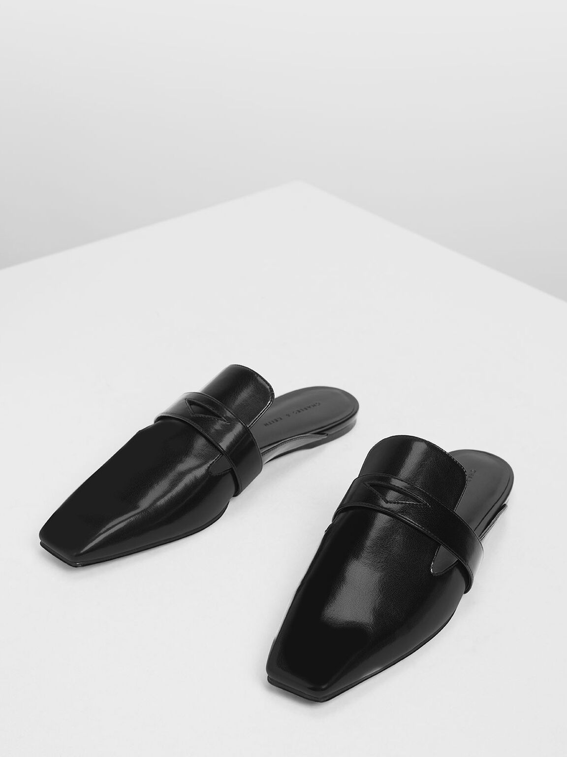 Penny Loafer Mules, Black, hi-res