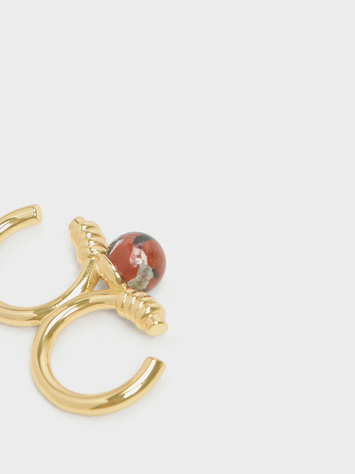 Jasper Stone Double Ring, Gold, hi-res