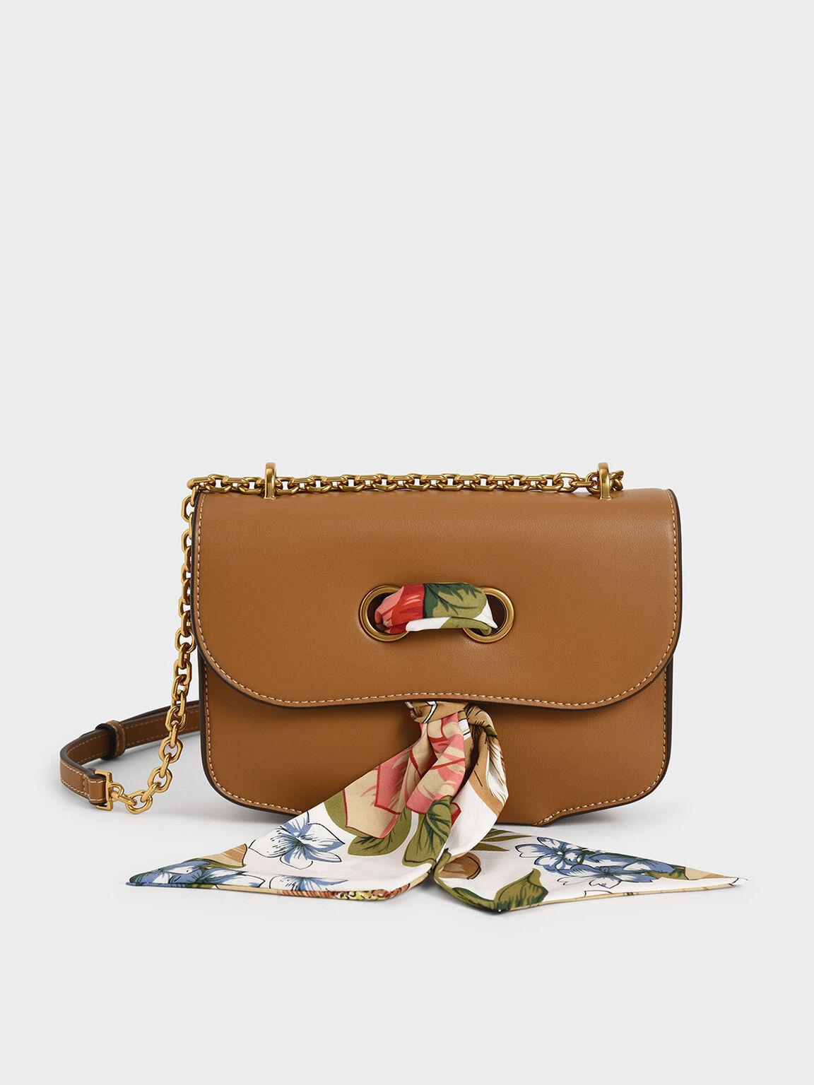 Chiffon Scarf Double Strap Shoulder Bag, Camel, hi-res