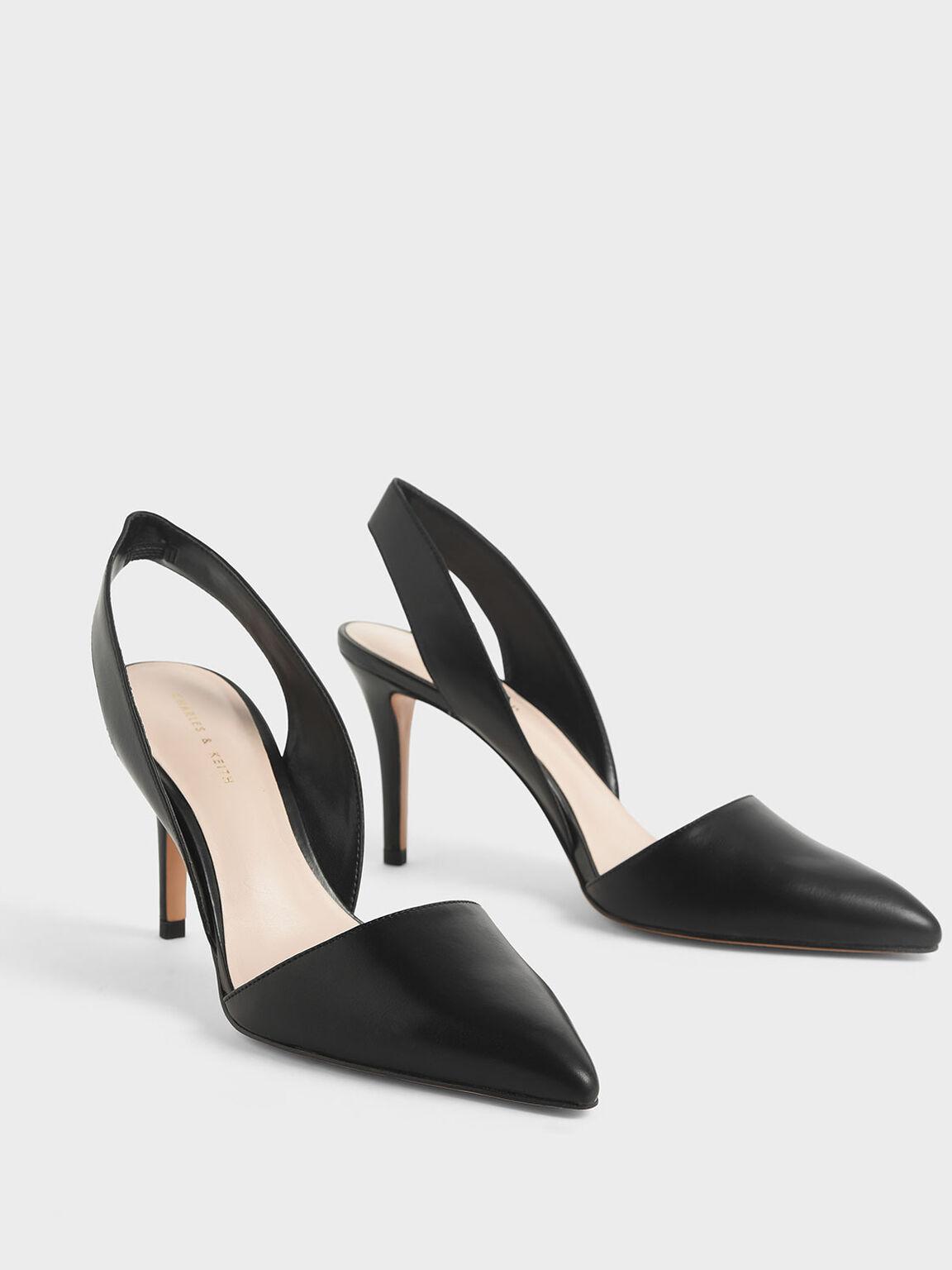 Thick Slingback Strap Heels, Black, hi-res
