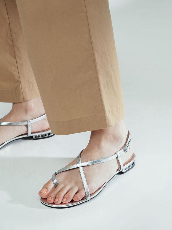 Metallic Toe Loop Strappy Sandals, Silver, hi-res
