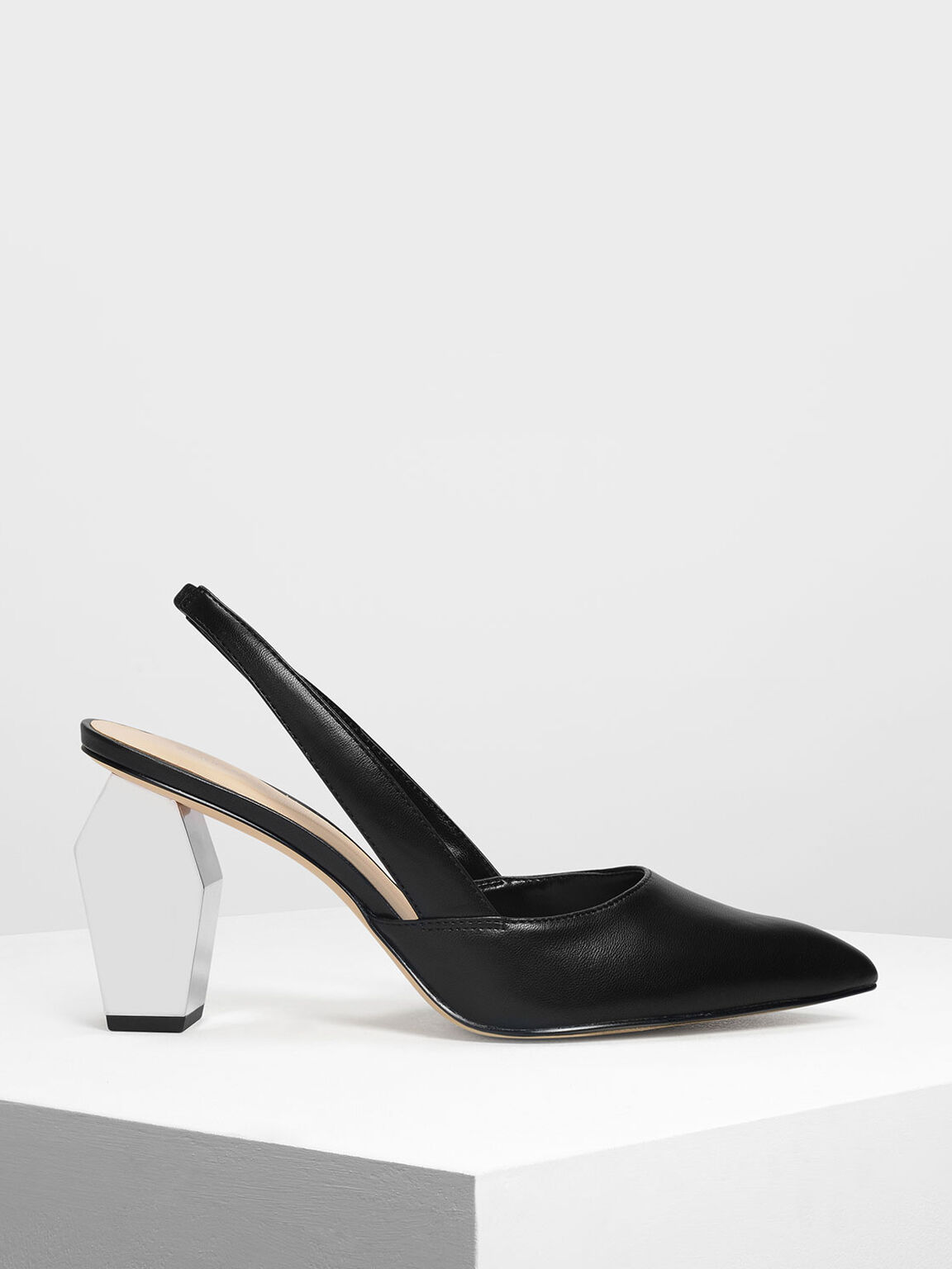 Geometric Chrome Heel Slingbacks, Black, hi-res