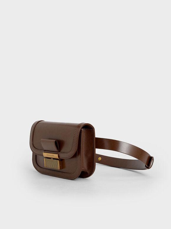 Metallic Push-Lock Front Flap Bag, Dark Brown, hi-res