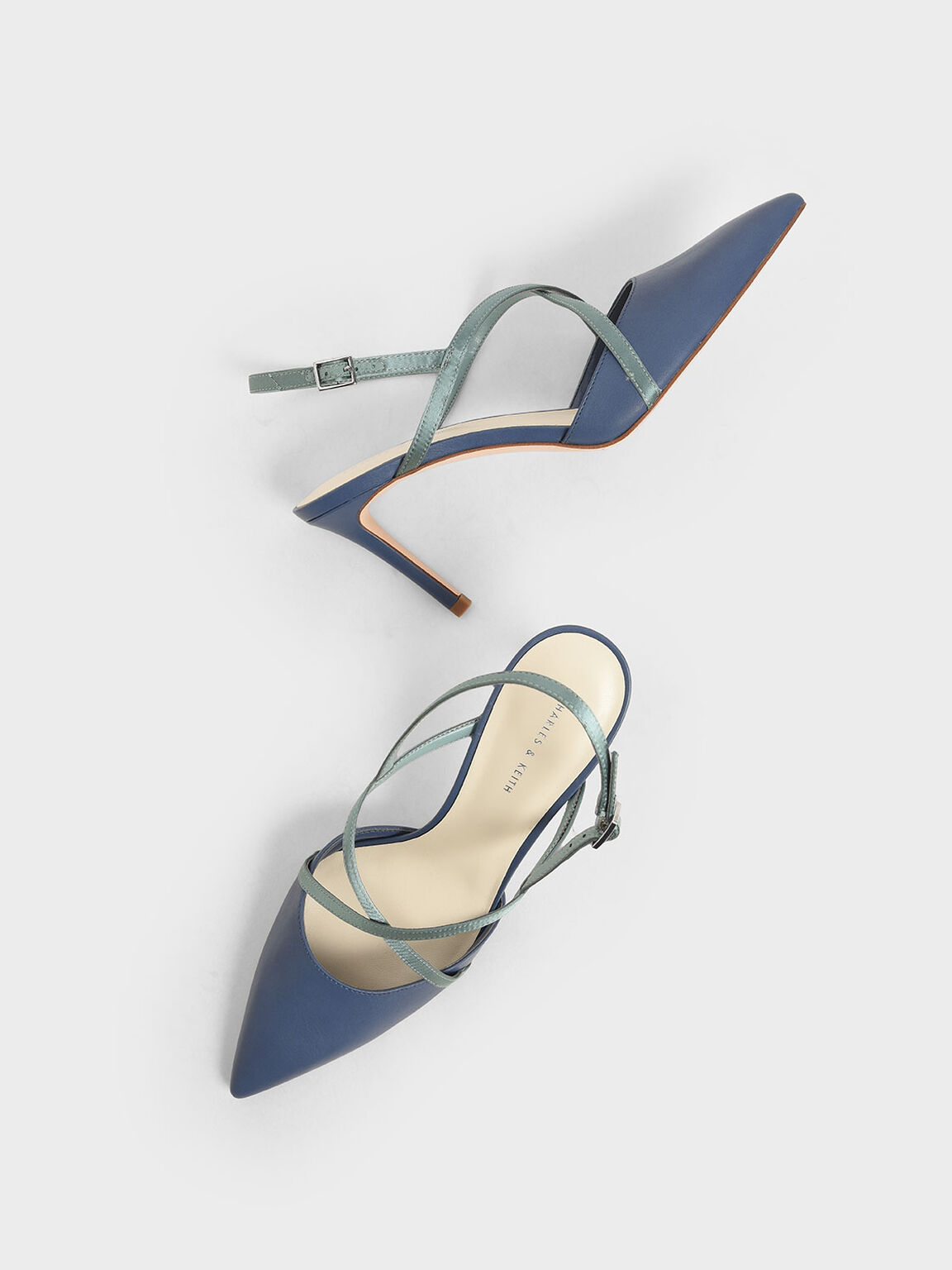 Satin Criss-Cross Strap Pumps, Blue, hi-res