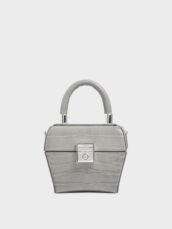 Croc-Effect Mini Sculptural Bag, Light Grey, hi-res