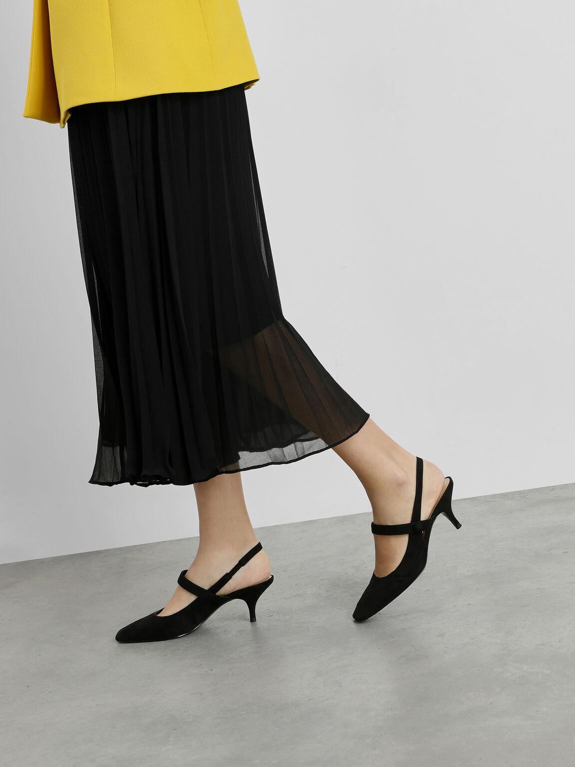 Square Toe Mary Jane Slingback Heels, Black, hi-res