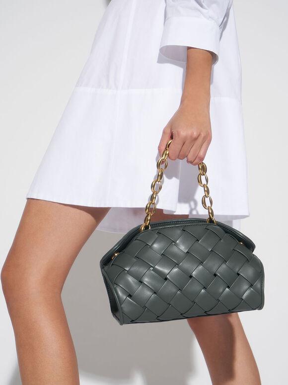 Woven Shoulder Bag, Teal, hi-res