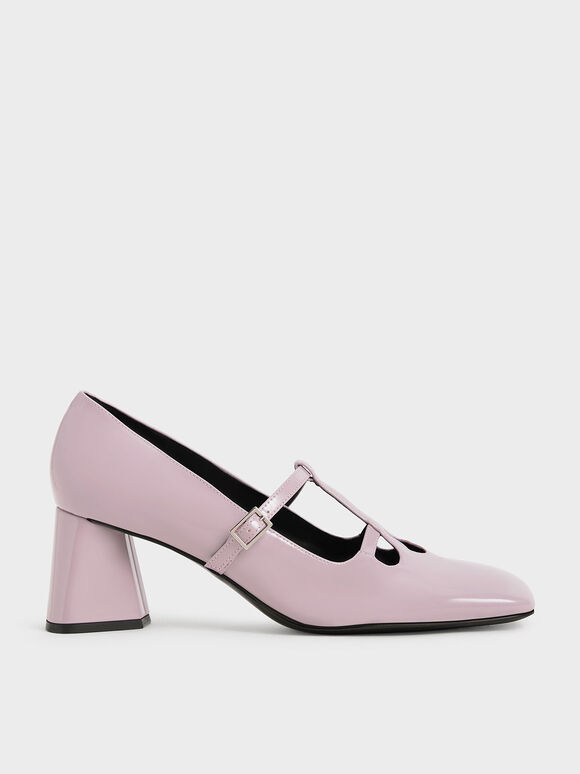 Patent Double Strap Mary Jane Pumps, Lilac, hi-res
