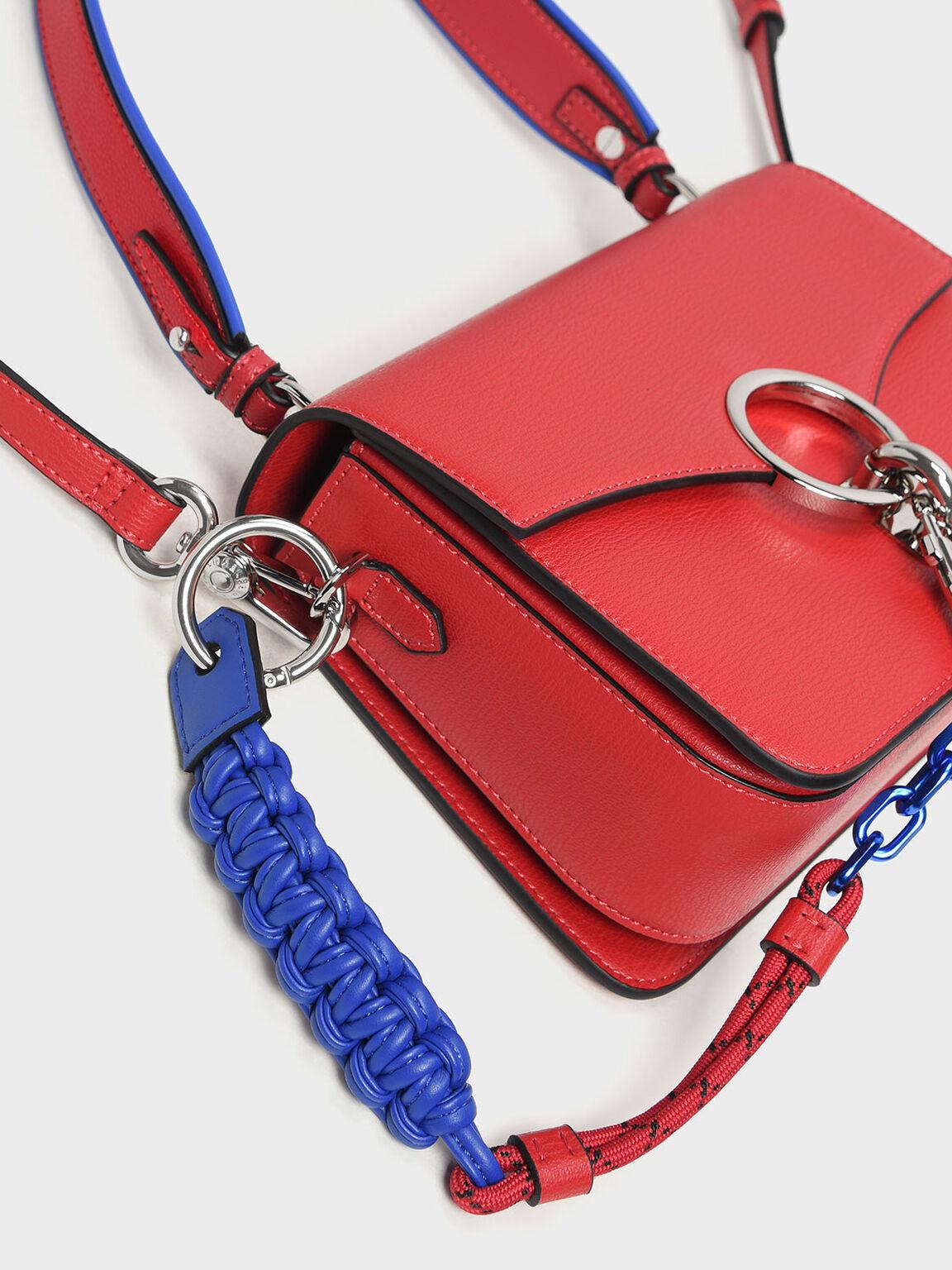 Chain Link Shoulder Bag, Red, hi-res