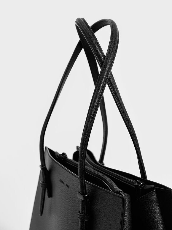 Double Handle Tote Bag, Ultra-Matte Black, hi-res