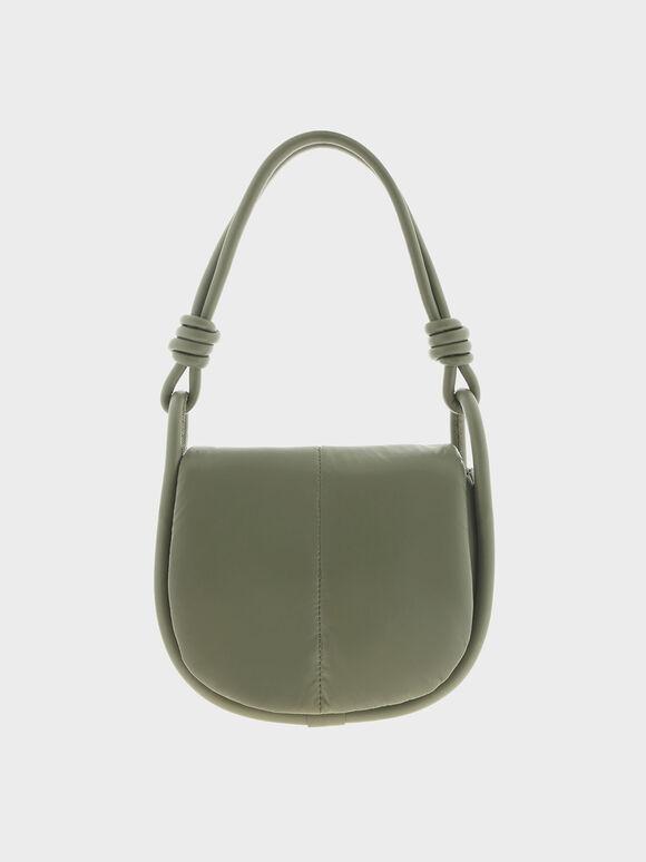 Luna Knotted Handle Shoulder Bag, Olive, hi-res