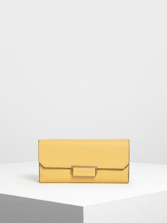 Metal Rim Long Wallet, Yellow, hi-res