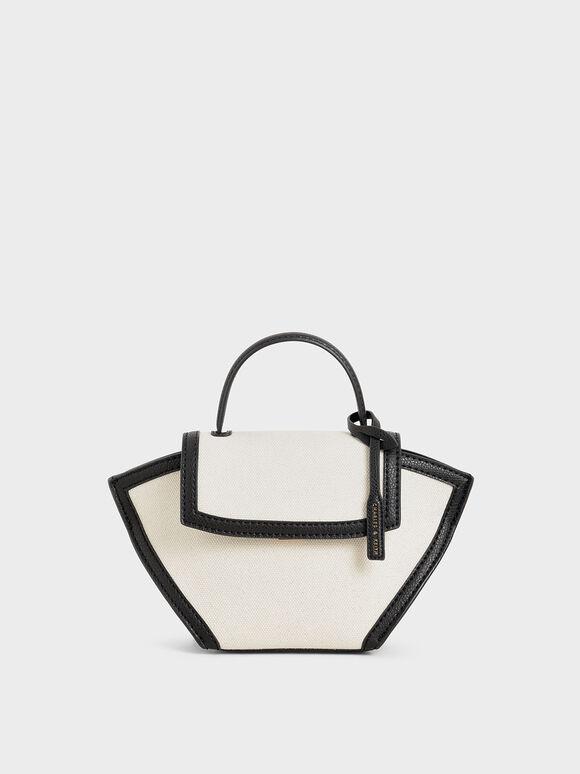 Canvas Trapeze Top Handle Bag, Black Textured, hi-res