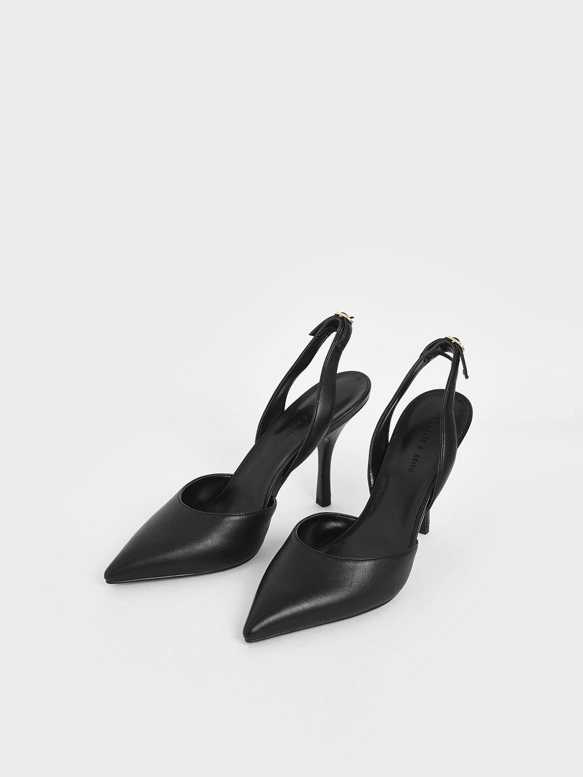 D'Orsay Slingback Pumps, Black, hi-res