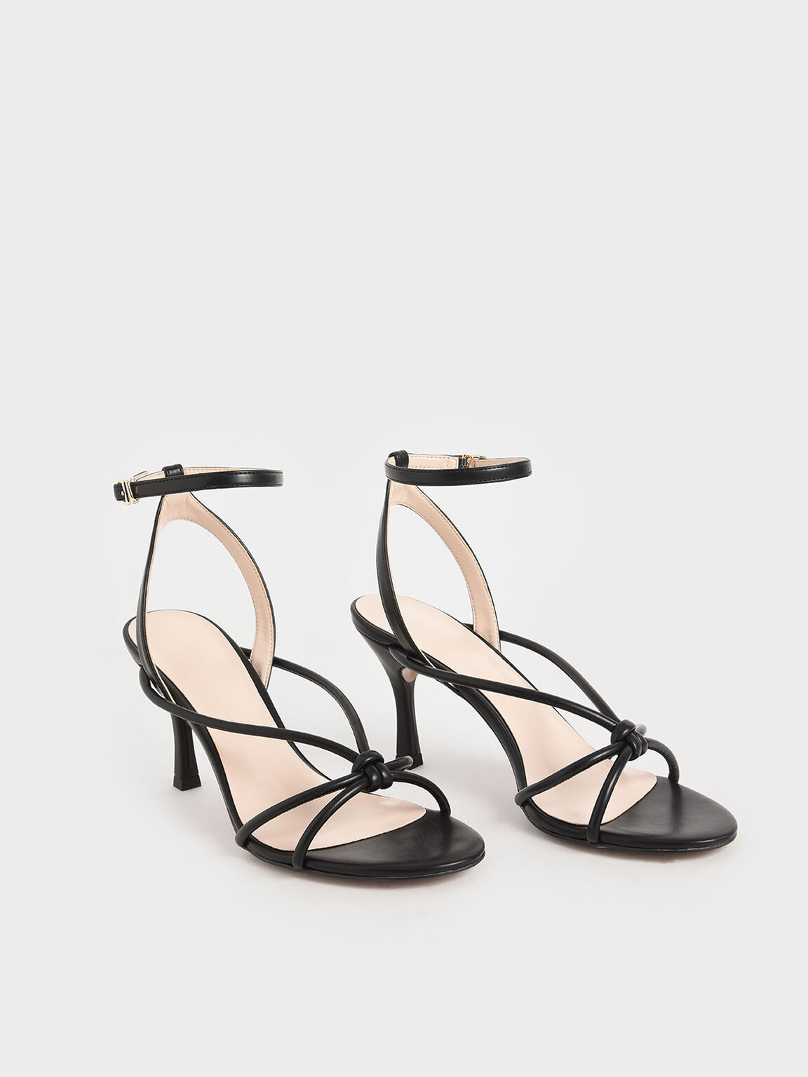 Front Knot Heeled Sandals, Black, hi-res