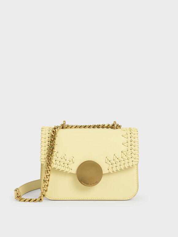 Woven Double Chain Handle Bag, Butter, hi-res