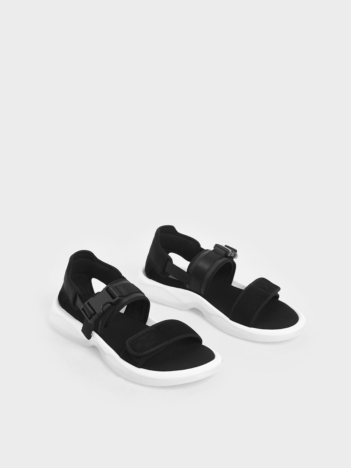 Strappy Chunky Sandals, Black, hi-res