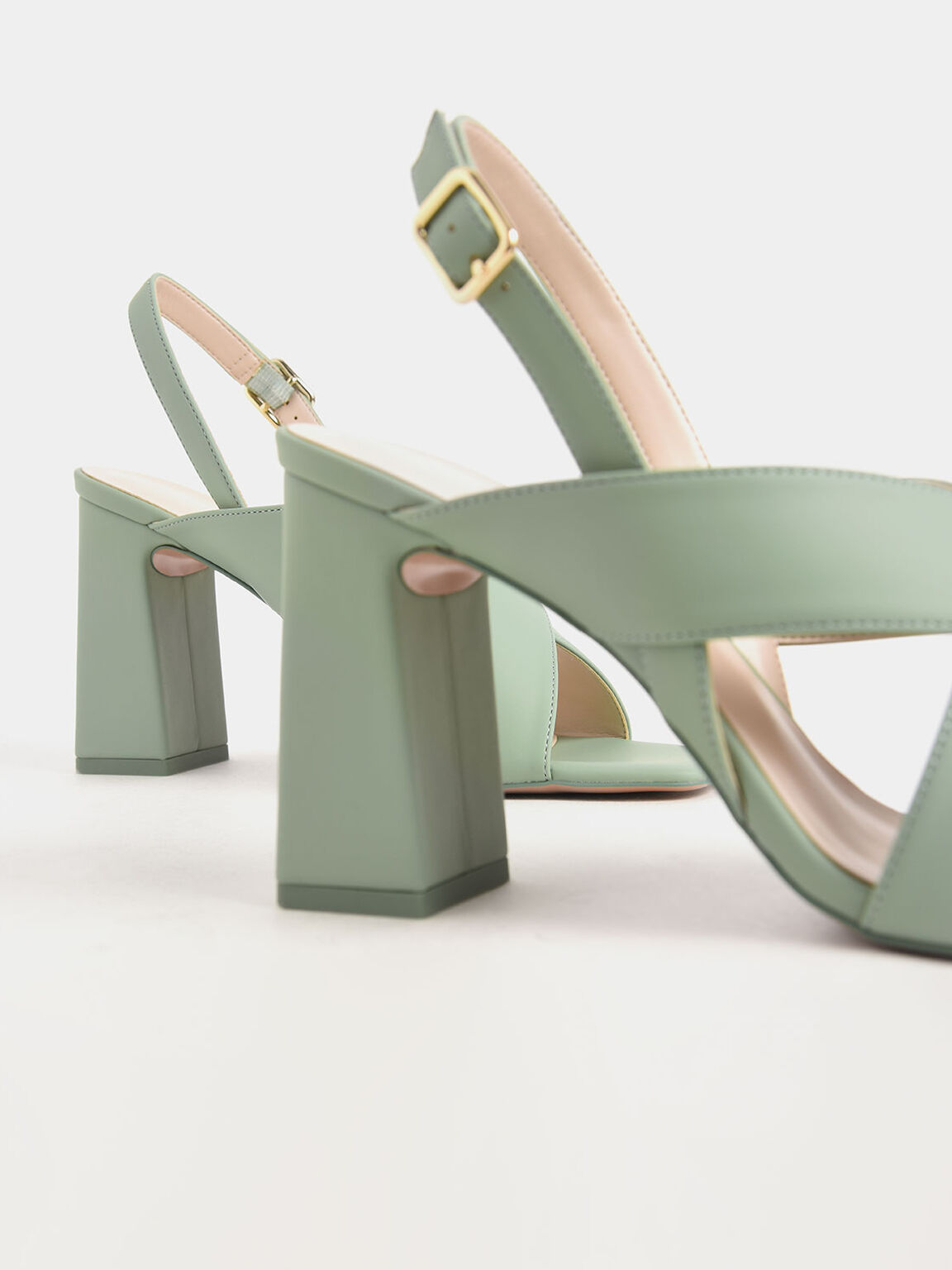 Criss-Cross Slingback Heeled Sandals, Green, hi-res