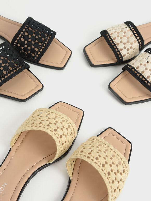 Asymmetric Toe Crochet Slides, Cream, hi-res