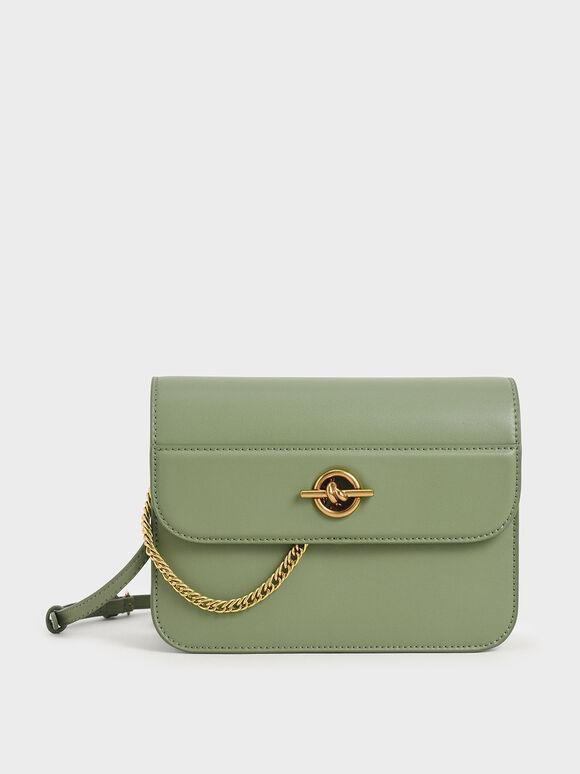Metallic Accent Chain Handle Bag, Sage Green, hi-res