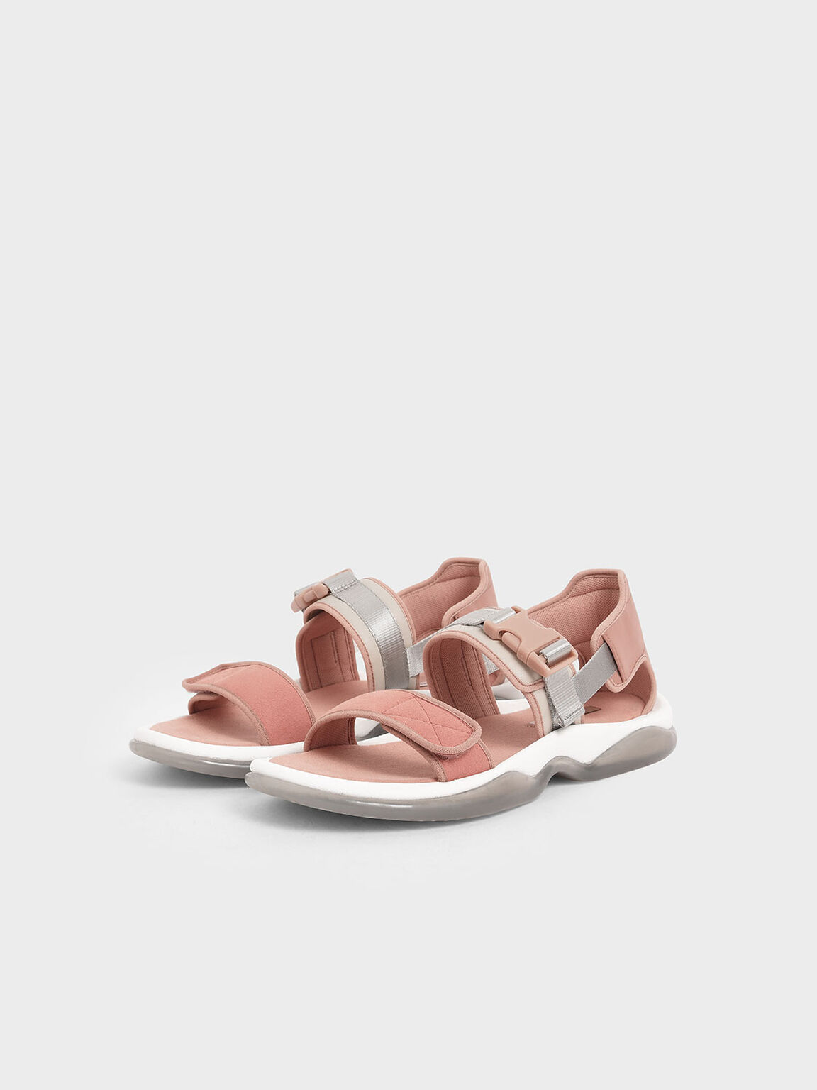 Strappy Chunky Sandals, Nude, hi-res