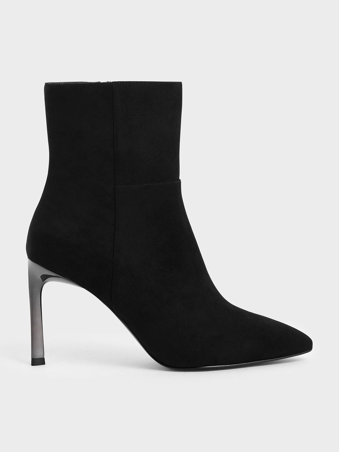 Side Zip Stiletto Ankle Boots, Black Textured, hi-res