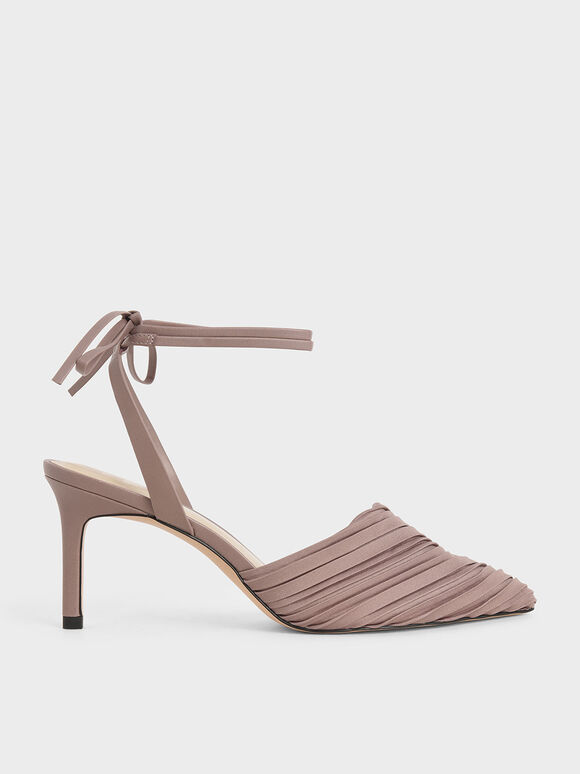 Pleated Ankle Tie Stiletto Pumps, Mauve, hi-res