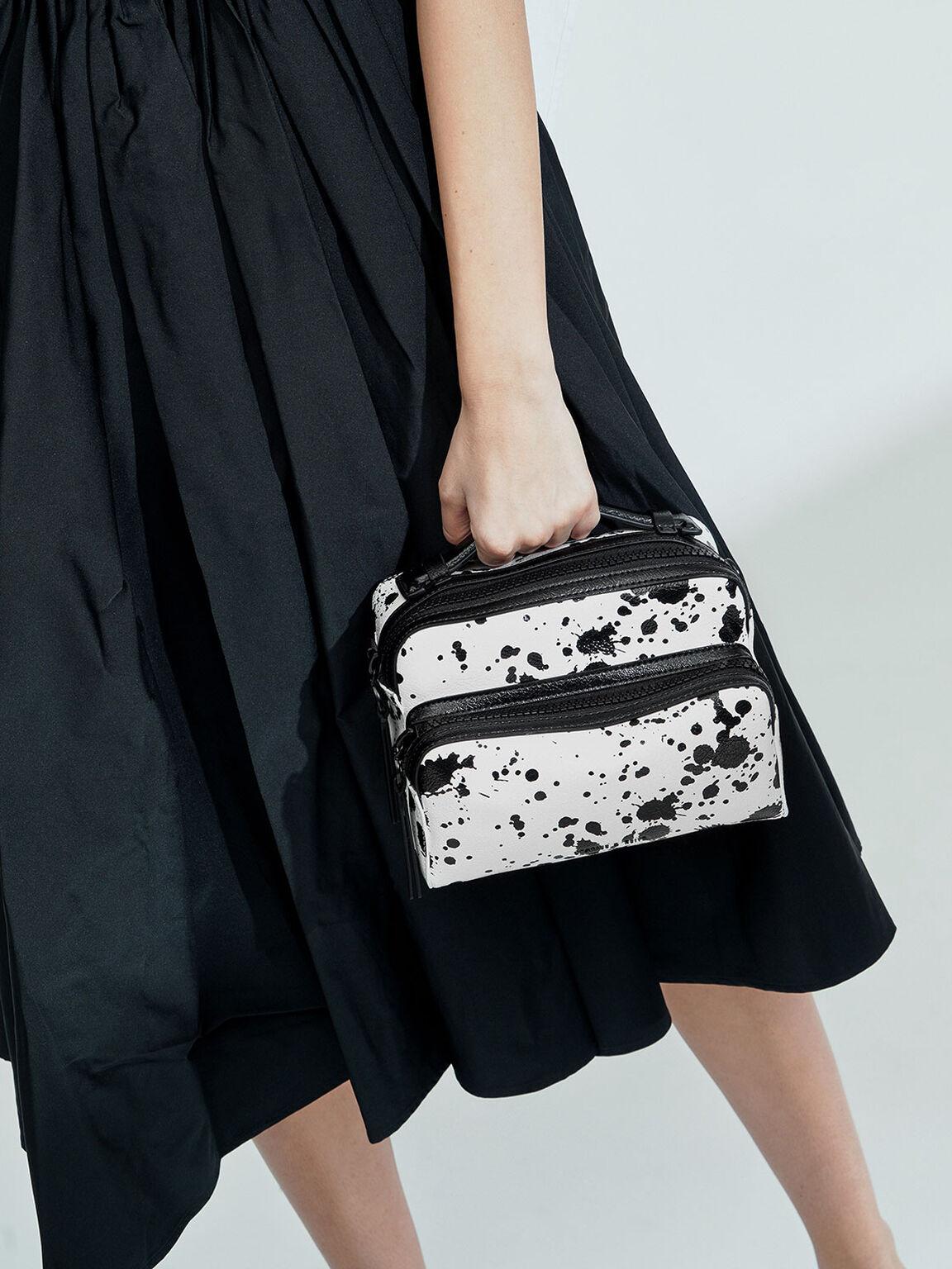 Printed Double Zip Bag, White, hi-res