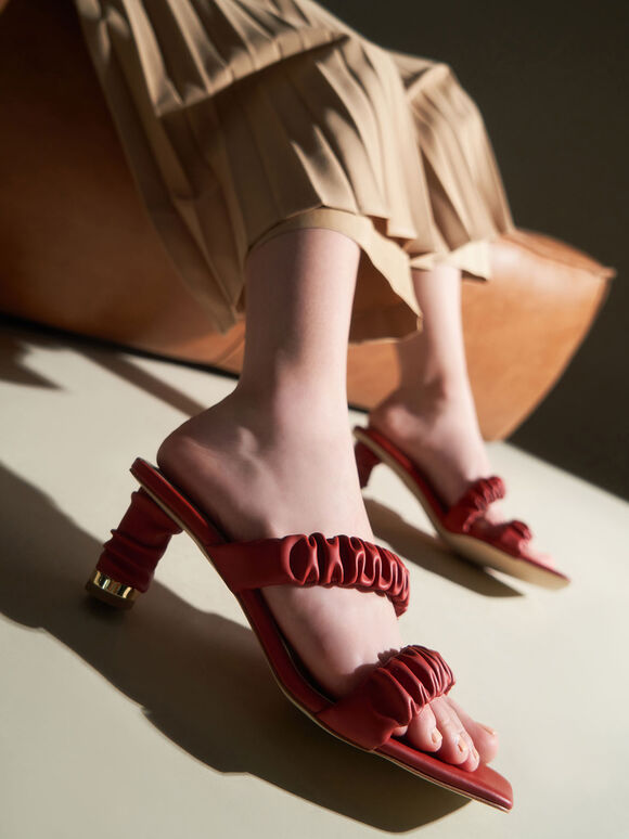 Ruched Strap Mules, Red, hi-res