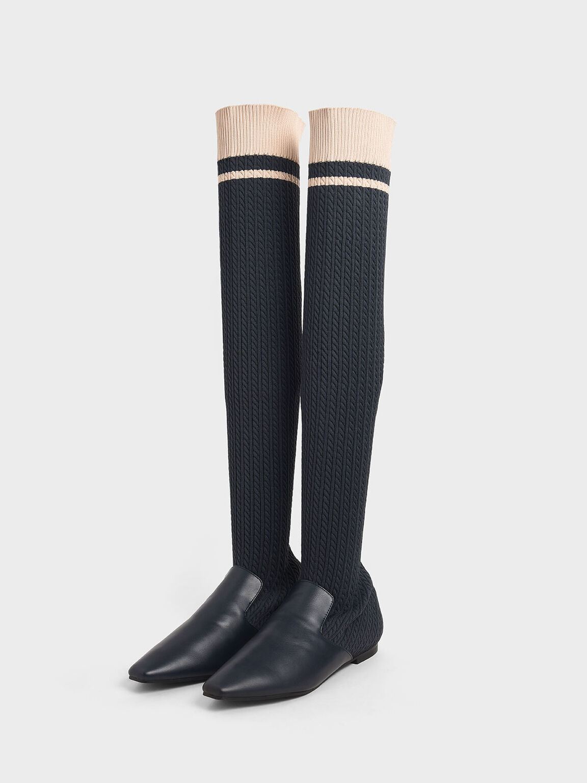 Knitted Thigh High Boots, Dark Blue, hi-res