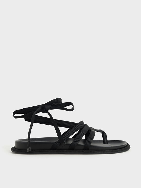Grosgrain Tie-Around Thong Sandals, Black, hi-res