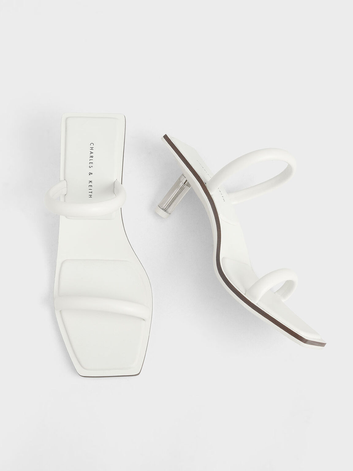 Tubular Strap Heeled Sandals, White, hi-res