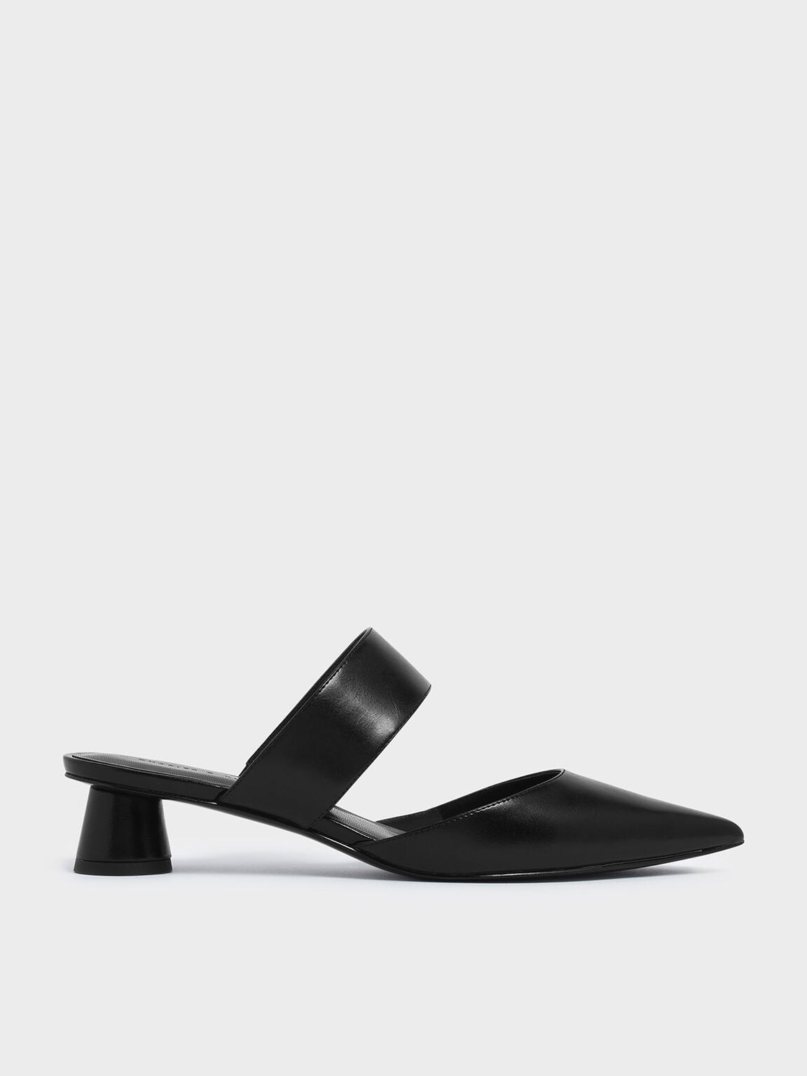 Thick Strap Cylindrical Heel Mules, Black, hi-res