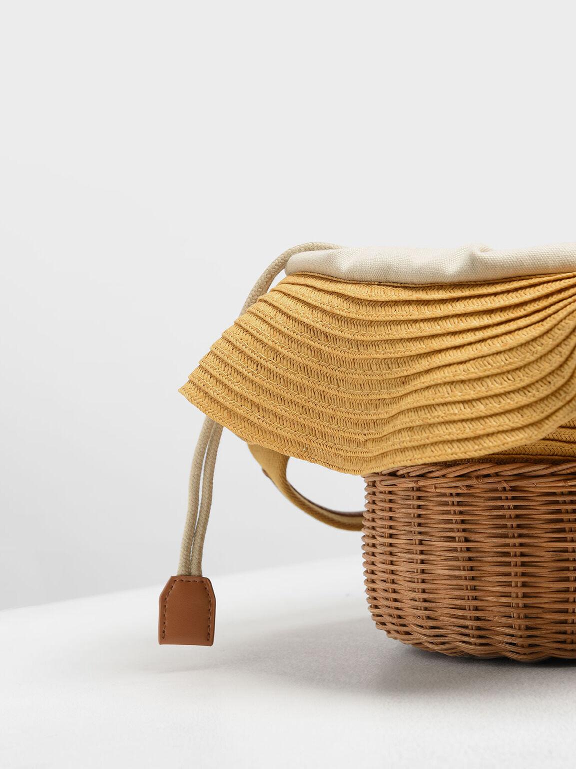 Straw & Rattan Tote Bag, Yellow, hi-res