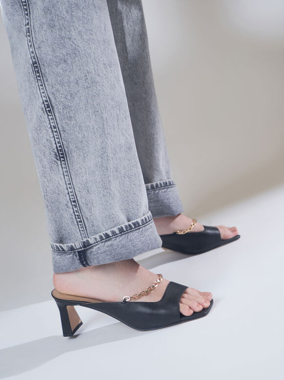 Leather Chain Link Mules, Black, hi-res