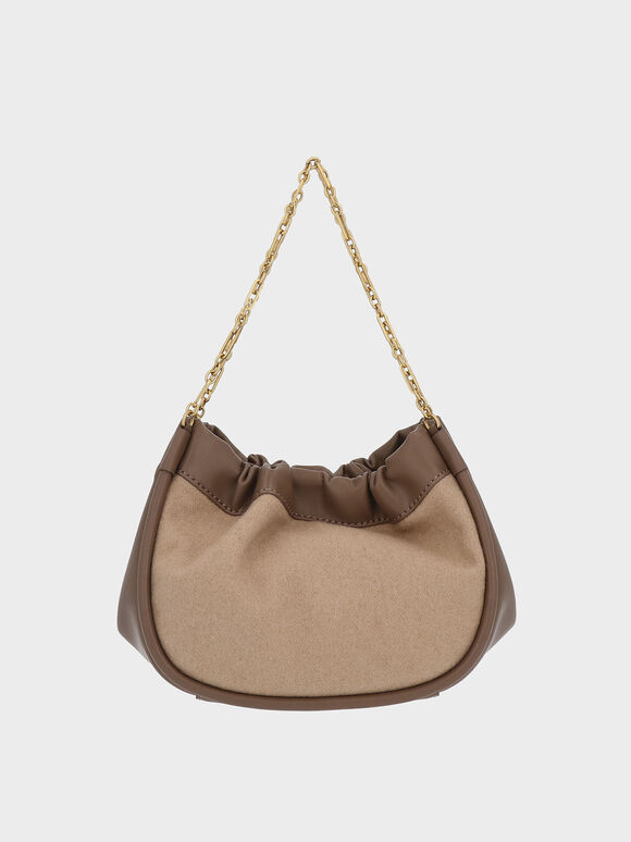 Double Chain Handle Slouchy Bag, Brown, hi-res