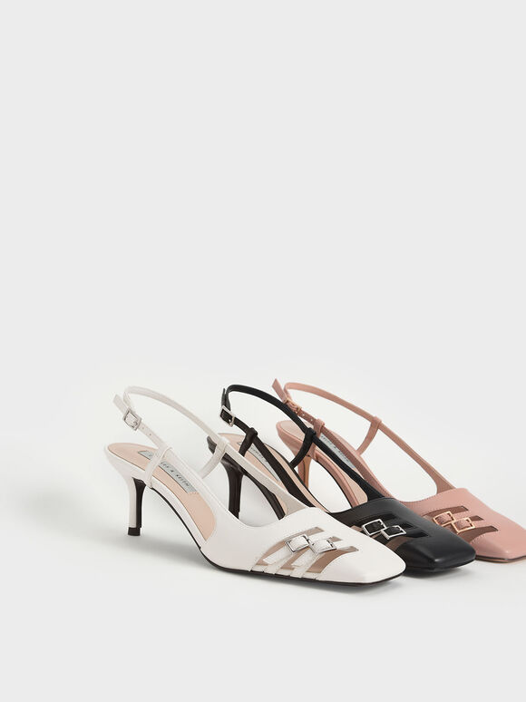Cut-Out Buckled Slingback Pumps, White, hi-res